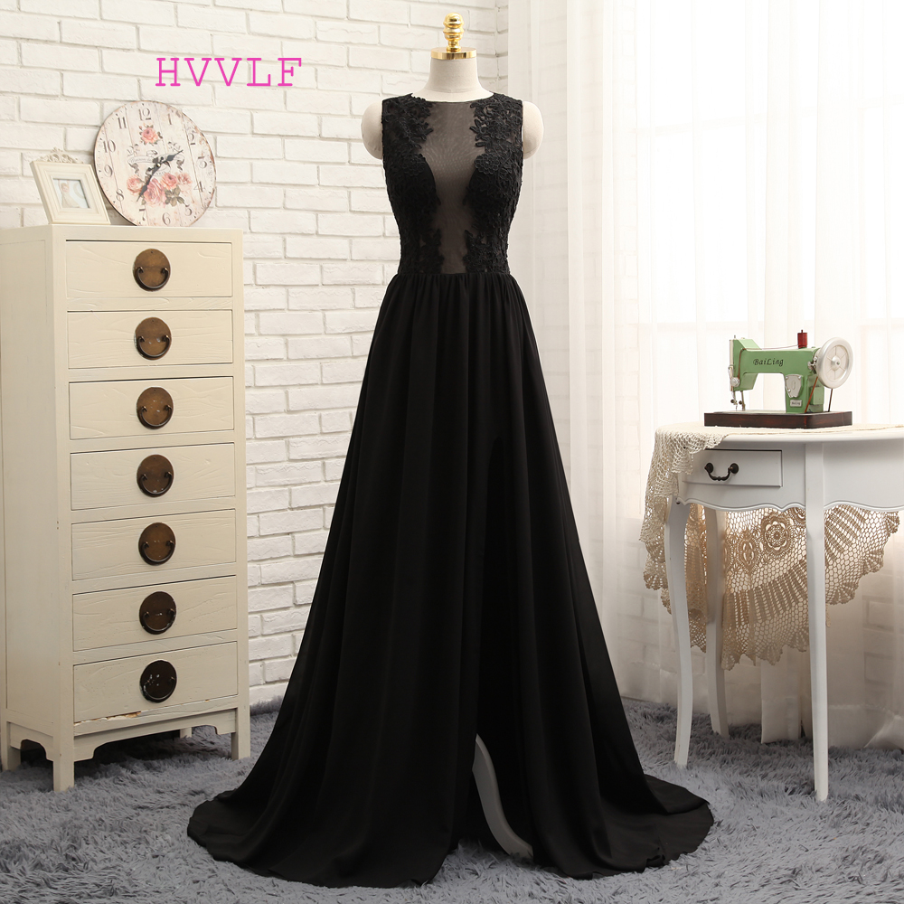 HVVLF See Through 2018 Prom Dresses A-line Black Chiffon Appliques Lace Sexy Long Prom Gown Evening Dresses Evening Gown