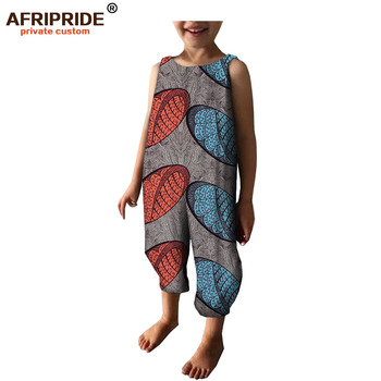 2019 spring african fabric jumpsuit for kids AFRIPRIDEA sleeveless ankle length boys and girls 100% cotton 184001