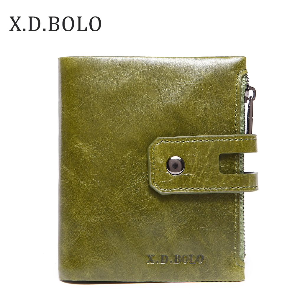 X.D.BOLO Wallet Women Genuine Leather Card Holder Wallets Female Zipper Clutch Ladies Purses With Coin Pocket Women's Wallet