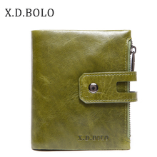 X.D.BOLO Wallet Women Genuine Leather Card Holder Wallets Female Zipper Clutch Ladies Purses with Coin Pocket Women's Wallet
