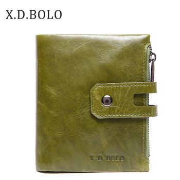 X.D.BOLO Wallet Women Genuine Leather Card Holder Wallets Female Zipper Clutch Ladies Purses with Coin Pocket Women's Wallet new arrival cartoon wallets with zipper coin pocket attack on titan dragon ball adventure time short wallet with card holder