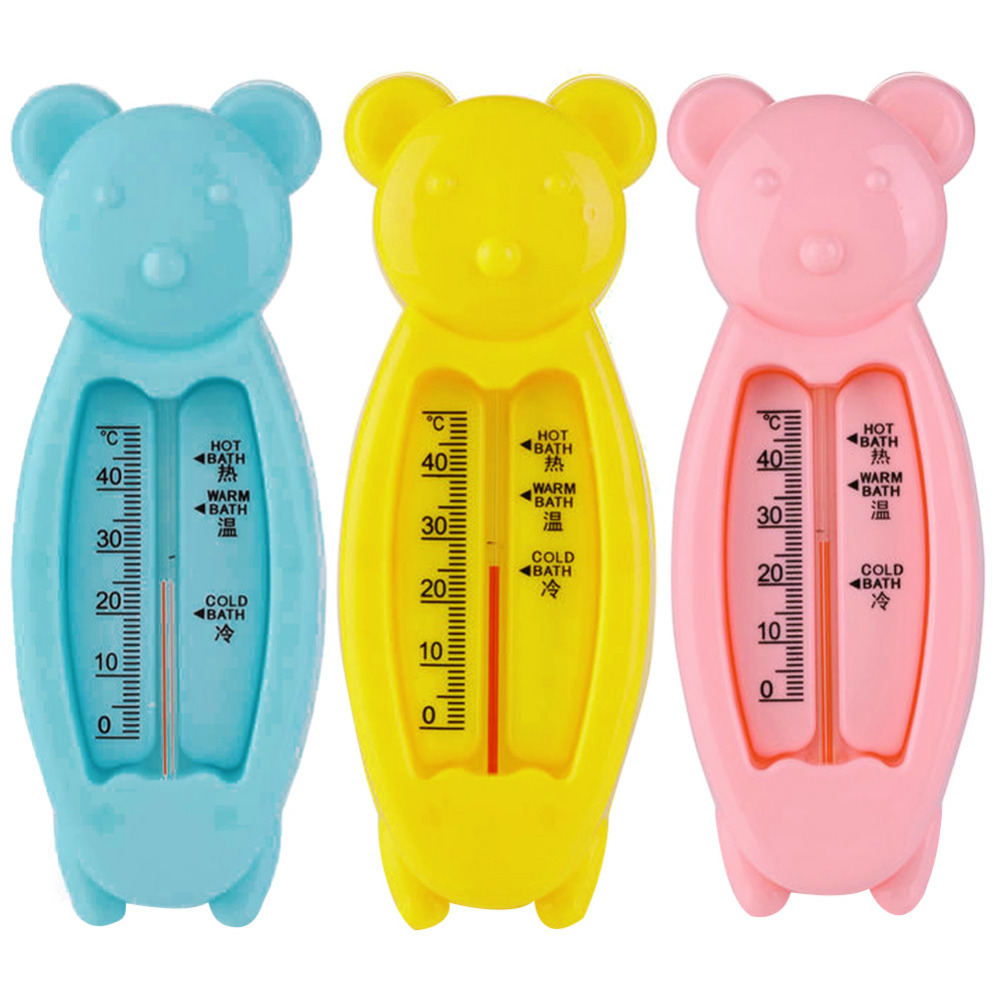 Baby Bear Shape Lovely Plastic Float Bath Tub Water Sensor Thermometer Baby Bathing Play Toys