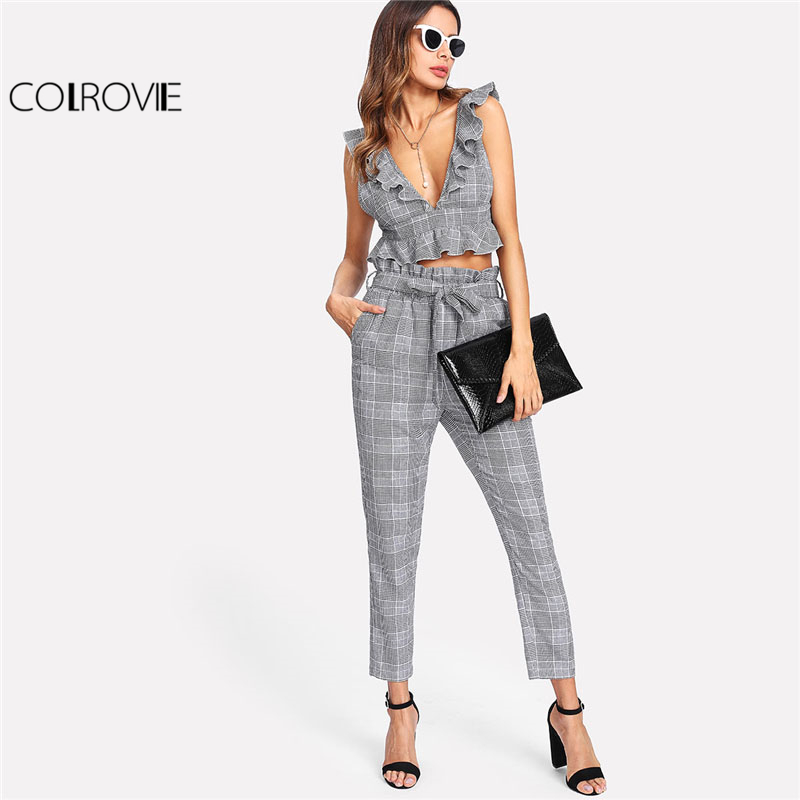 COLROVIE Plaid Deep V Neck Top & Self Belt Pants Set Women Grey Ruffle Sleeveless Backless Sexy Twopiece Casual 2 Pieces
