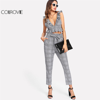 COLROVIE Plaid Deep V Neck Top Self Belt Pants Set Women Grey Ruffle Sleeveless Backless Sexy