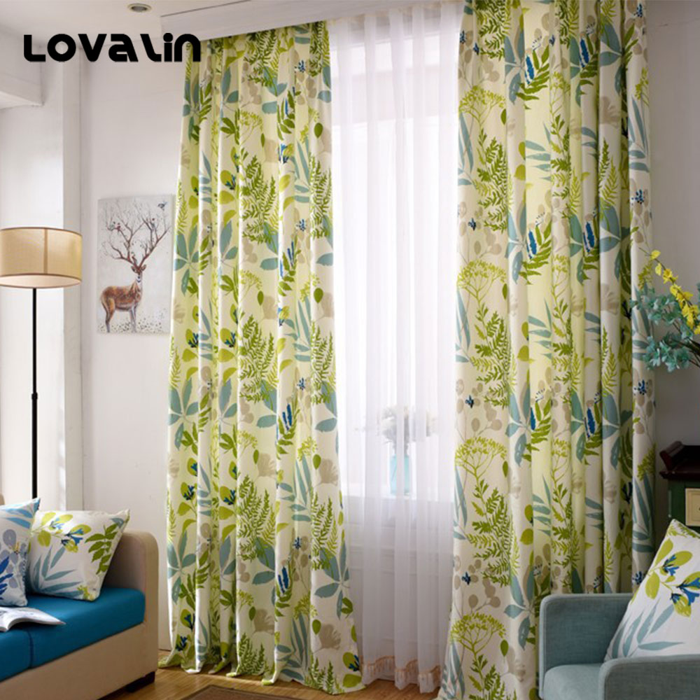 Lovalin Floral Print Cloth Curtains Drapes Blackout Tulle