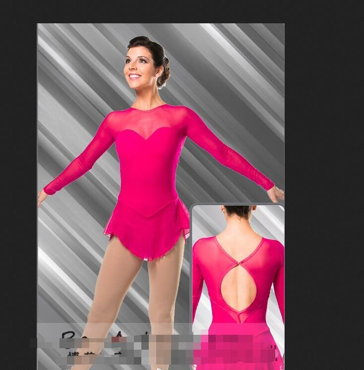 red figure skating dresses without crystals women figure skating dresses custom high elastic free shipping