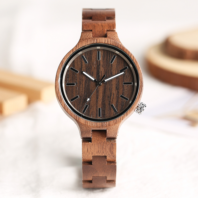 2018 New Arrival Women Quartz Full Wood Strap Watches Elegant Handmade Brown Nature Bamboo Wooden Bracelet Watch Ladies Gifts simple brown bamboo full wooden adjustable band strap analog wrist watch bangle minimalist new arrival hot women men nature wood