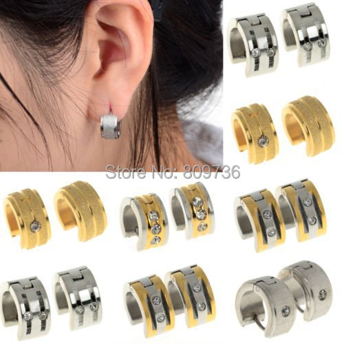 1pair Hot Punk Mens Women Ear Stud Crystal Stainless Steel Earrings Gauges NEW Silver Gold Tone jewelry Drop Free