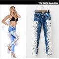 De Las Mujeres atractivas Denim Light Blue Jeans Ajustados Pantalones de Partido Del Cordón Del Ganchillo Con Cadena novio pantalones de Encaje para las mujeres