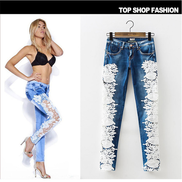 Sexy Women's Denim Light Blue Skinny Jeans Crochet Lace Party Pants With Chain boyfriend Lace  jeans for women