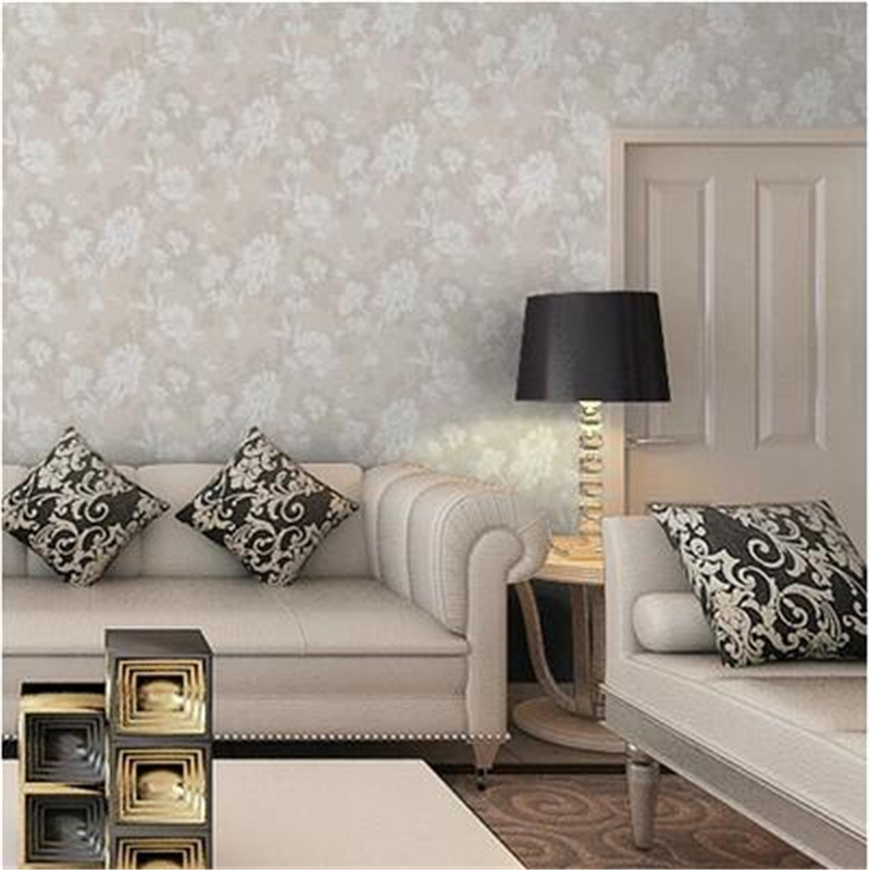 Us 25 92 28 Off Beibehang Modern Minimalist Non Woven Beige Wallpaper Light Gray Solid Dark Floral Bedroom Living Room Sofa Tv Background Wall In