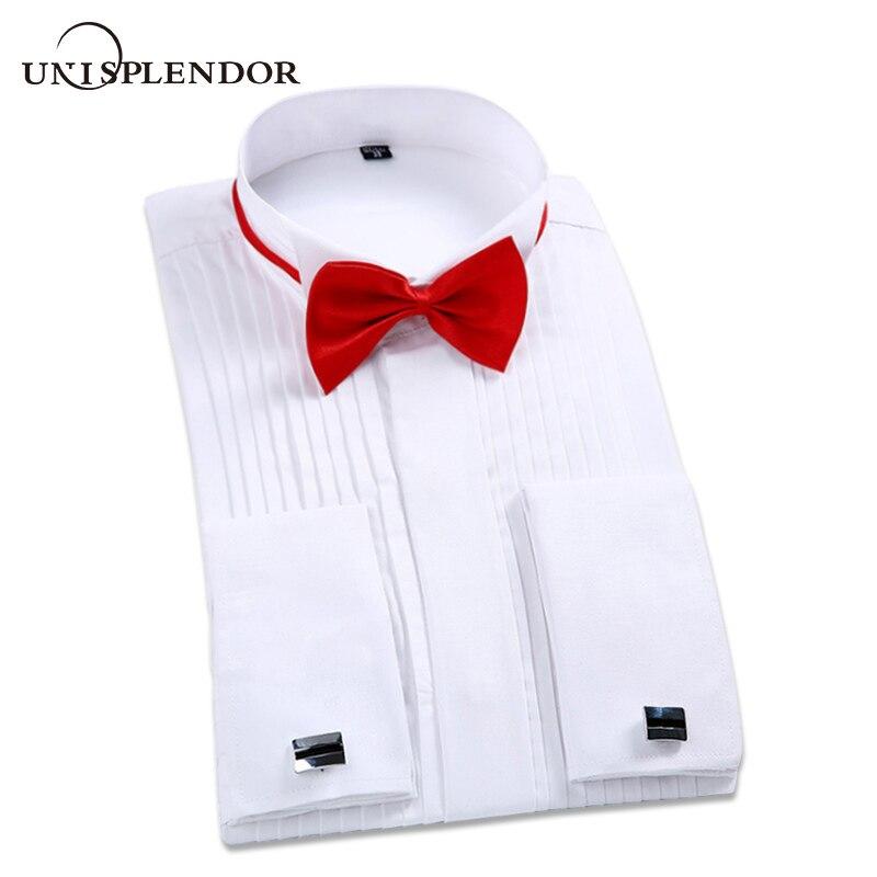 2019 Men Wedding Tuxedo Long Sleeve Dress Shirts French Fold Man Cufflinks Swallowtail Button Tops Gentleman Party Shirt YN10367