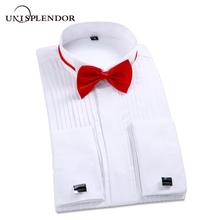 2020 mężczyźni smoking ślubny z długim rękawem ubranie koszule francuski krotnie człowiek spinki Swallowtail topy z guzikami Gentleman bluzka wyjściowa YN10367 tanie tanio unisplendor Poliester COTTON Tuxedo koszule Pełna Suknem Stojak Formalne Pojedyncze piersi Stałe REGULAR White Black Red Wedding Dress Shirts