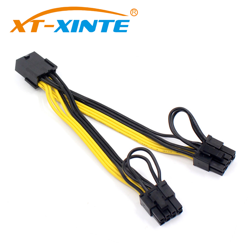 XT-XINTE PCI-E 8pin Female to 2 Port Dual PCIE 8pin 6+2p Male GPU Graphics Video Card Power Cable Cord 18AWG Wire BTC Miner 20pcs lot 60cm pci e 8pin male to 8 pin 6 2pin male gpu power extension cable 18awg ribbon cable for video graphic card