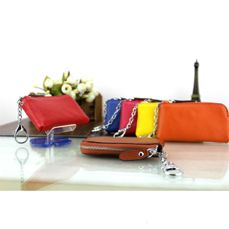 Women men Genuine real Leather Coin Pouch Purse Zip Wallet Bag Key Holder