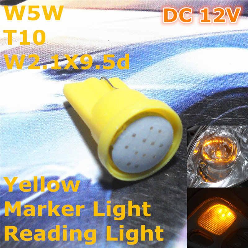 12 V Sarı Renk LED araba ampulü Lamba T10 (Yeni COB Lamba) w5W W2.1X9.5d için Gövde Boot Lİsans Kurulu Okuma Işığı