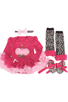 ABWE 4pcs/set Newborn Rose Red Pink Leopard Baby Romper with Tutu Dress +Head Band+Shoes+Leggings Baby Clothing Set-XL