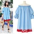 Rebantwa verano nueva loose borla vestidos de cuello slash manga flare hombro mujeres dress lindo vestido de fiesta más el tamaño XL-5XL