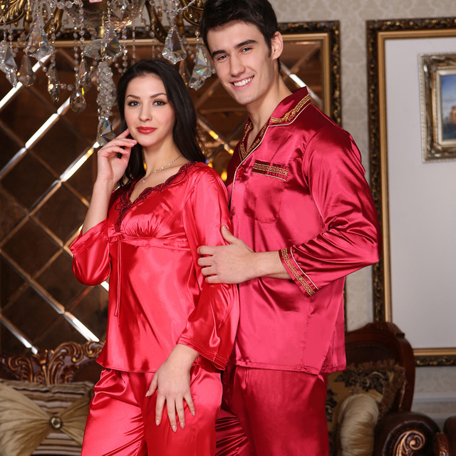 Couple Pajamas Men Women Sexy Satin Silk Pajama Pants Sets Chinese Red Long-Sleeved  Pyjama Lounge Sets Lovers Sleepwear 42ae068cf
