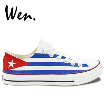 Wen Hand Painted Design Casual Shoe Cuba Flag Low Top Comfy Canvas Clause Unisex Sneakers Unique Gifts for Adults Platform Flat