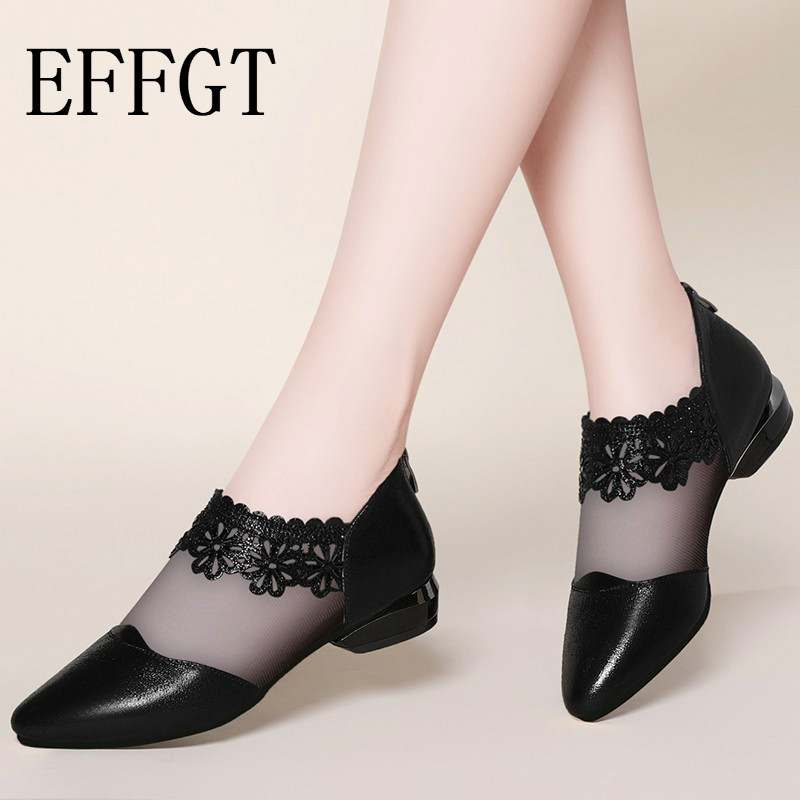 EFFGT Casual Sandals Lace Women Shoes Ankle-Flower Low-Heel Elegant Pointed Black New