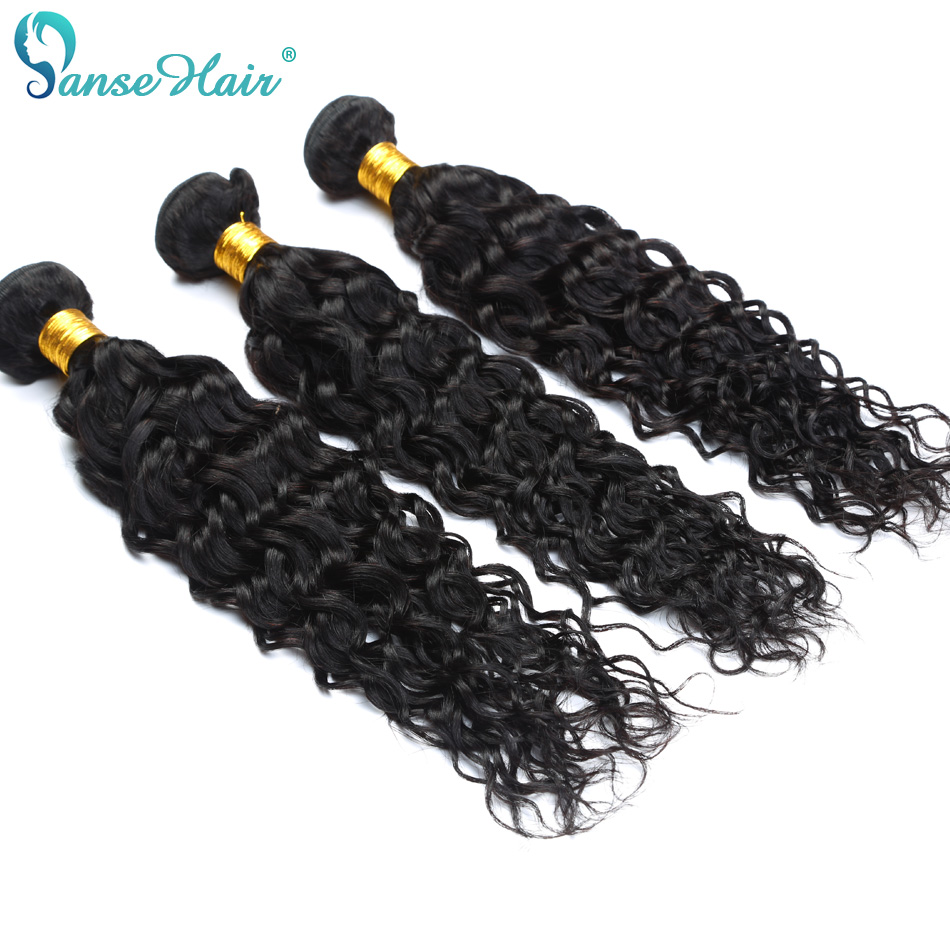 Panse Hair Mongolian Water Wave Human Hair 4 Bundles With 4X4 Closure Natural Color Non Remy Hair Customized 8 To 28 Inches Hair