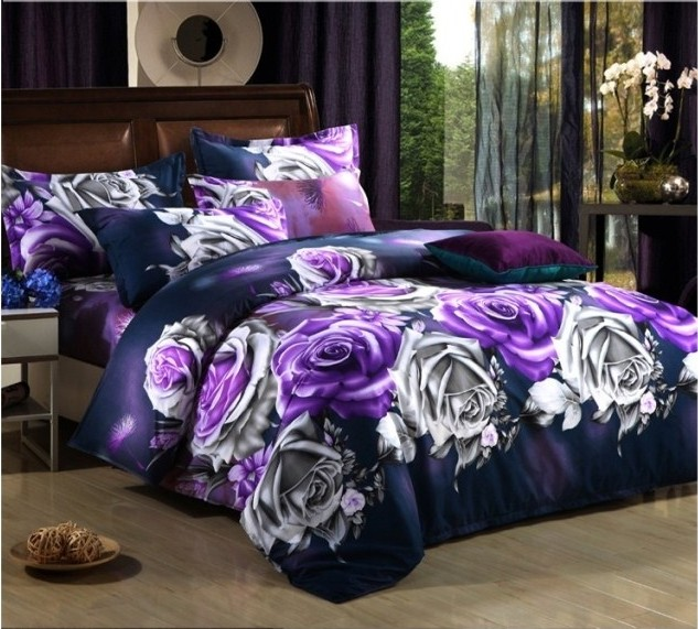 home textiles 3d bedclothes purple flower 4pcs bedding set king or queenchina