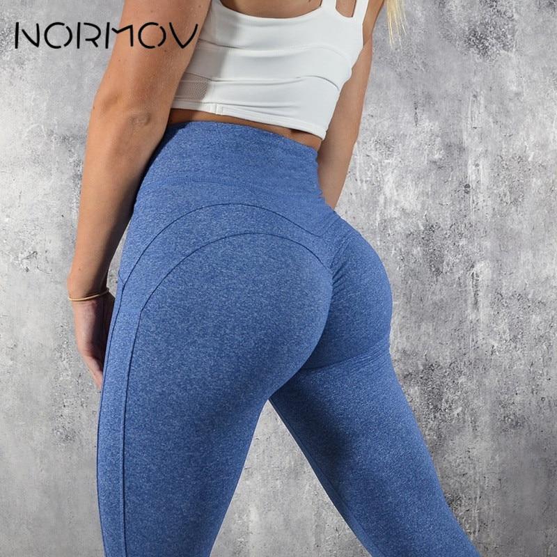 NORMOV Fashion Yoga Pants Sport Leggings Women Sport Fitness V Shape Legging Push Up Leggings Pants Female Running