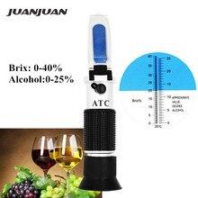 Новинка Brix 0-40% Спирт 0-25% вино фрукты сладость метр тестер Ручной рефрактометр Автоматическая компенсация температуры скидка 28