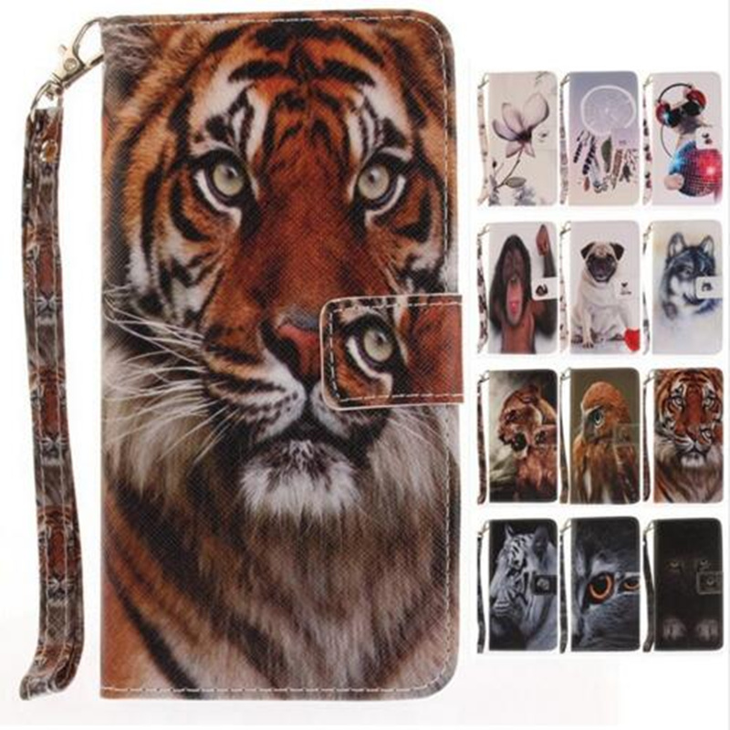 For Sony X Compact/mini Xperia Xz Wallet Case C6 Luxury Stand Cases Pu Leather Flip Cover Cat Dog Tiger Wolf Lion Monkey Eagle Elegant Shape