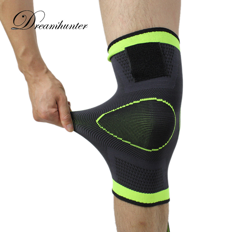 1PC 3D weaving basketball tennis hiking cycling knee brace support professional protective Straps Pressurized sport knee pad 4XL