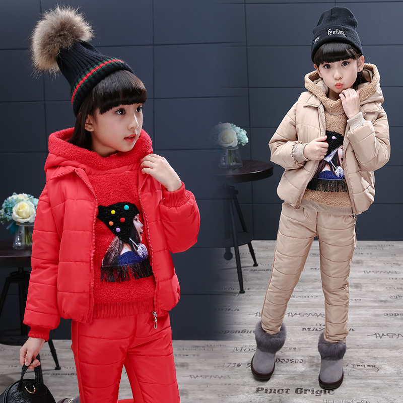 JENYA winter children clothing girls baby cartoon hooded coat fashion thicken wadded jacket kids T-shirt+pants+vest 3pcs sets baby fashion clothing kids girls cowboy suit children girls sports denimclothes letter denim jacket t shirt pants 3pcs set 4 13