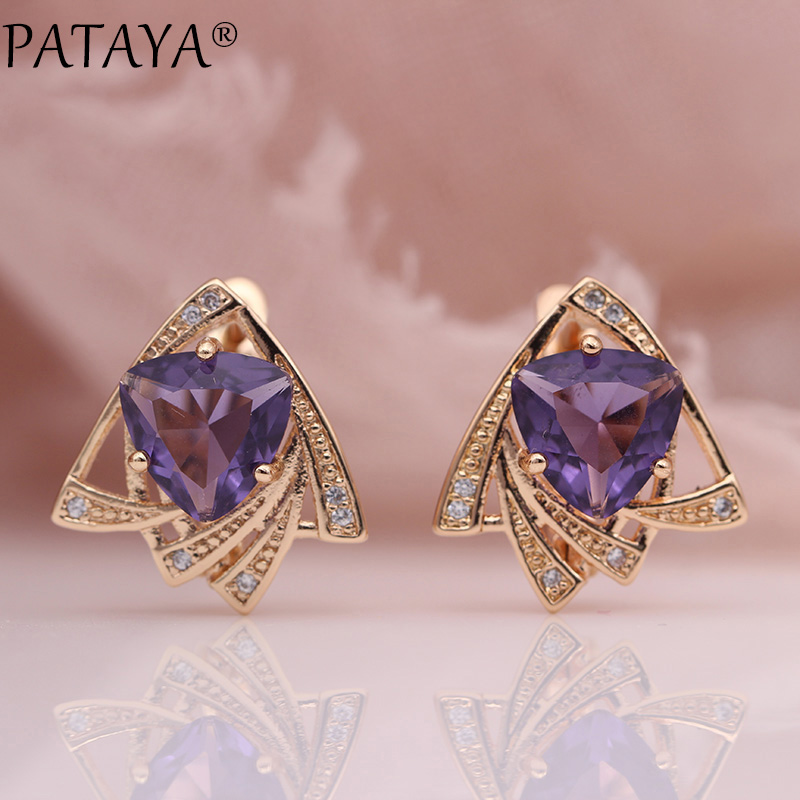 Furniture Pataya New Snow Blue Triangle Earrings Women Wedding Fashion Unique Jewelry 585 Rose Gold Cubic Zircon Dangle Earrings 11 Colors Warm And Windproof