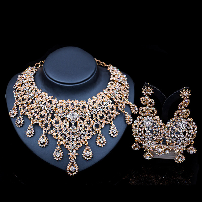2017 New Fashion Silver&Gold Necklace Earrings Jewelry Sets High Quality Rhinestone Bridal Wedding Jewelry Sets LF-G023