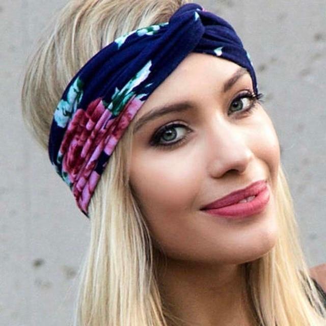 2018 NEW women Floral Bohemian Hippie Gypsy Turban Headband Soft Wide  Headbands Retro Hair Accessory Bandeau fc606c5e1f1
