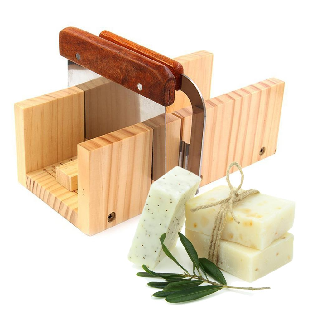 Household Wooden Soap Cutter Box Pine Material Balancing Apparatus Accurate Wire Cutting Adjustable Front Board Come With Cutter