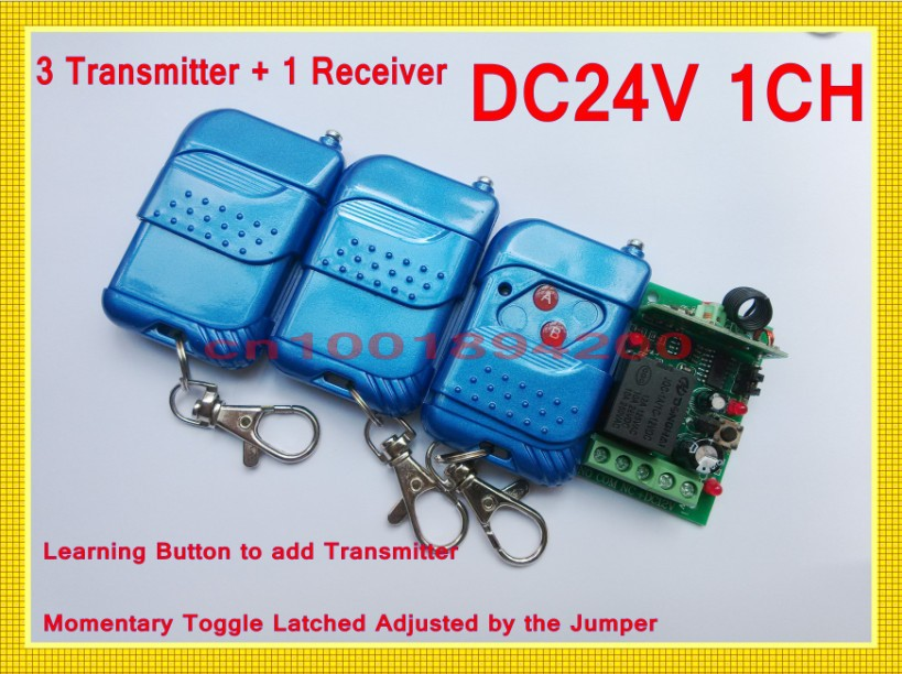 DC24V 1CH Access Control System 3 Transmitter 1 Receiver Remote Control Switch System Learning Code Latched A ON B OFF dc24v remote control switch system1receiver