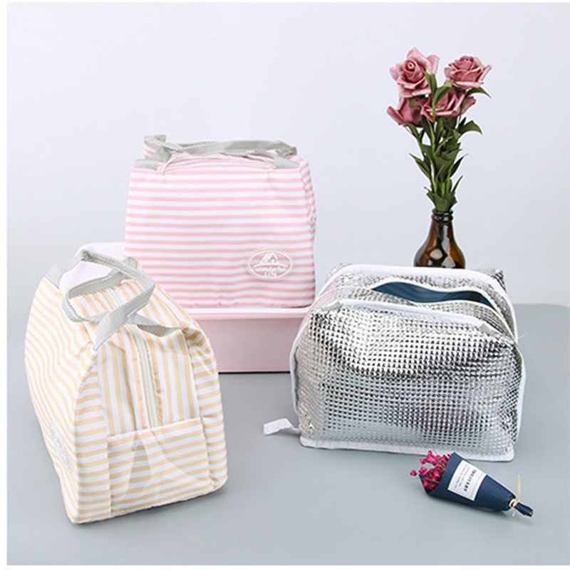 Women Fruit Cherry Lunch Bag Stripe Portable picnic Food Fresh Keep Lunch Box Insulated convenient Cooler kids Thermal Storage