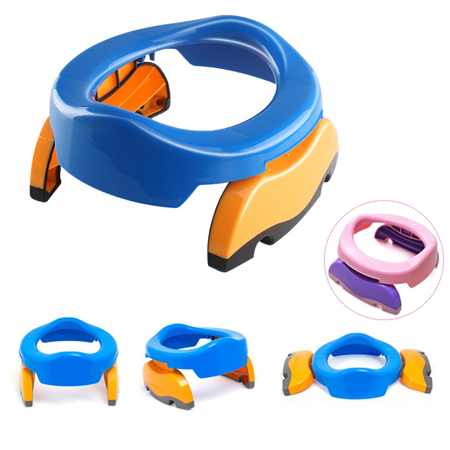 2018 New Portable Baby Infant Chamber Pots Foldaway Toilet Training Seat Travel Potty Rings with urine bag For Kids Blue Pink