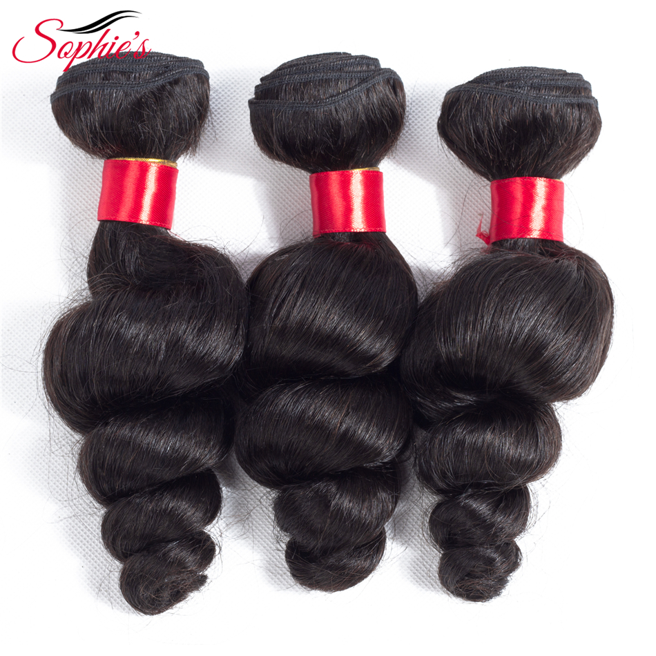 Sophies Hair Peruvian Loose Wave Hair Weaves 4 Bundles Non-Remy Human Hair Extensions Natural Color