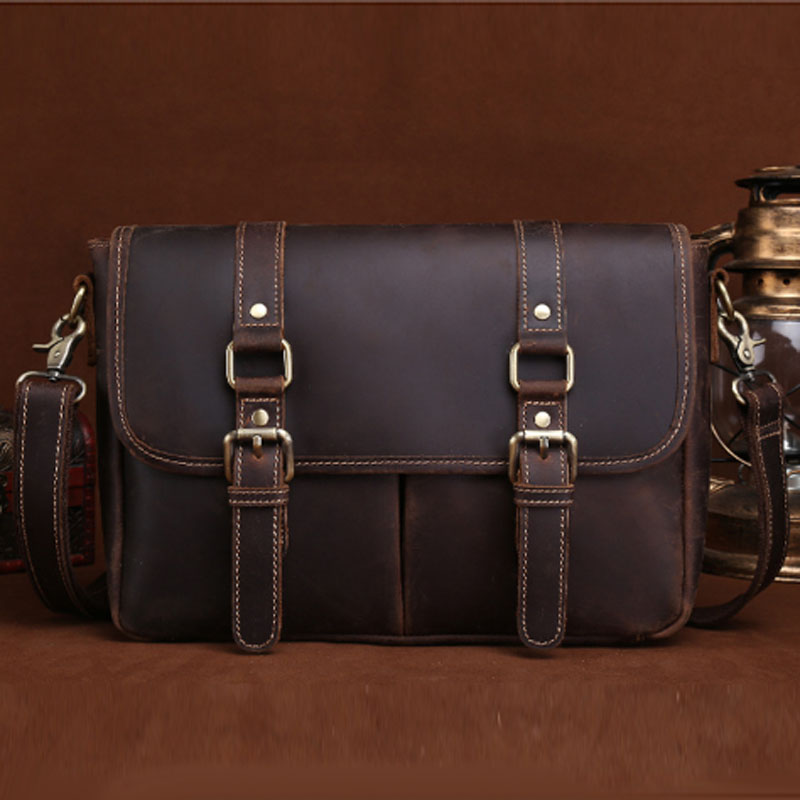 BULLCAPTAIN Crazy Horse Cowhide Cross Body Bag Men Business Messenger Briefcase Travel Casual Vintage Shoulder Bag Leather Bag famous brand vintage casual crazy cowhide leather messenger bag men satchel crossbody shoulder business briefcase bag w0960