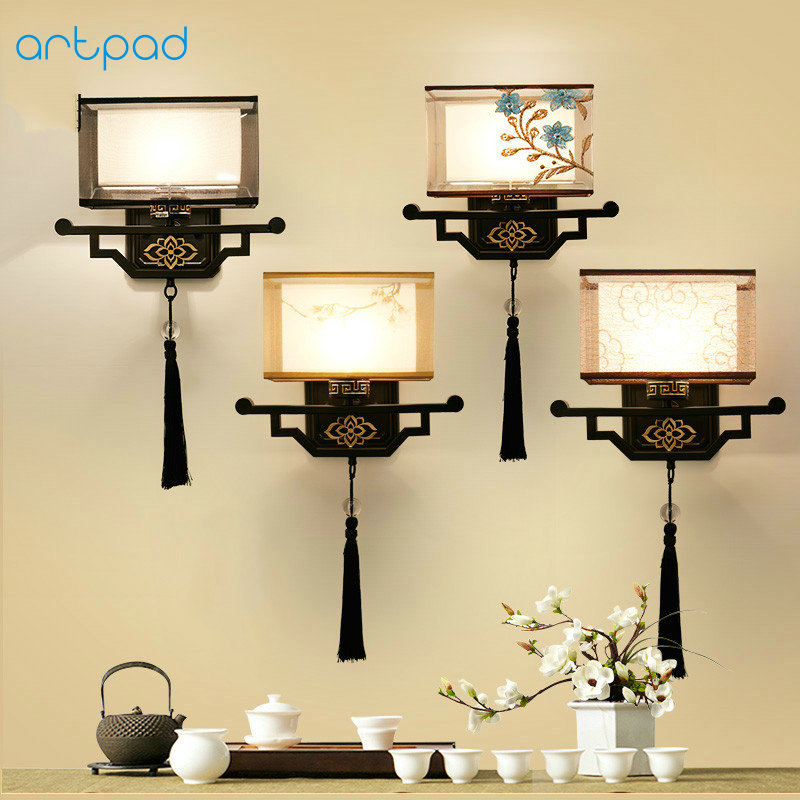 Artpad Traditional Chinese Vintage Bedside Lamp Embroidery Fabric Lamp Shade LED E27 Metal Sconce Wall Lights