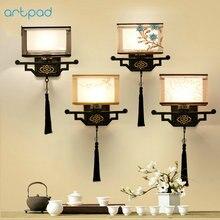 Artpad מסורתי סיני בציר המיטה מנורת רקמת בד מנורת צל LED E27 מתכת פמוט קיר אורות מסדרון אורות