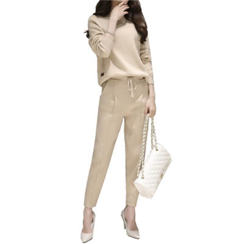 Di alta qualità di modo vestito a due pezzi delle donne new spring a maglia camicetta nove pantaloni affusolati Coreano maglione maglia vestito giacca + pantaloni