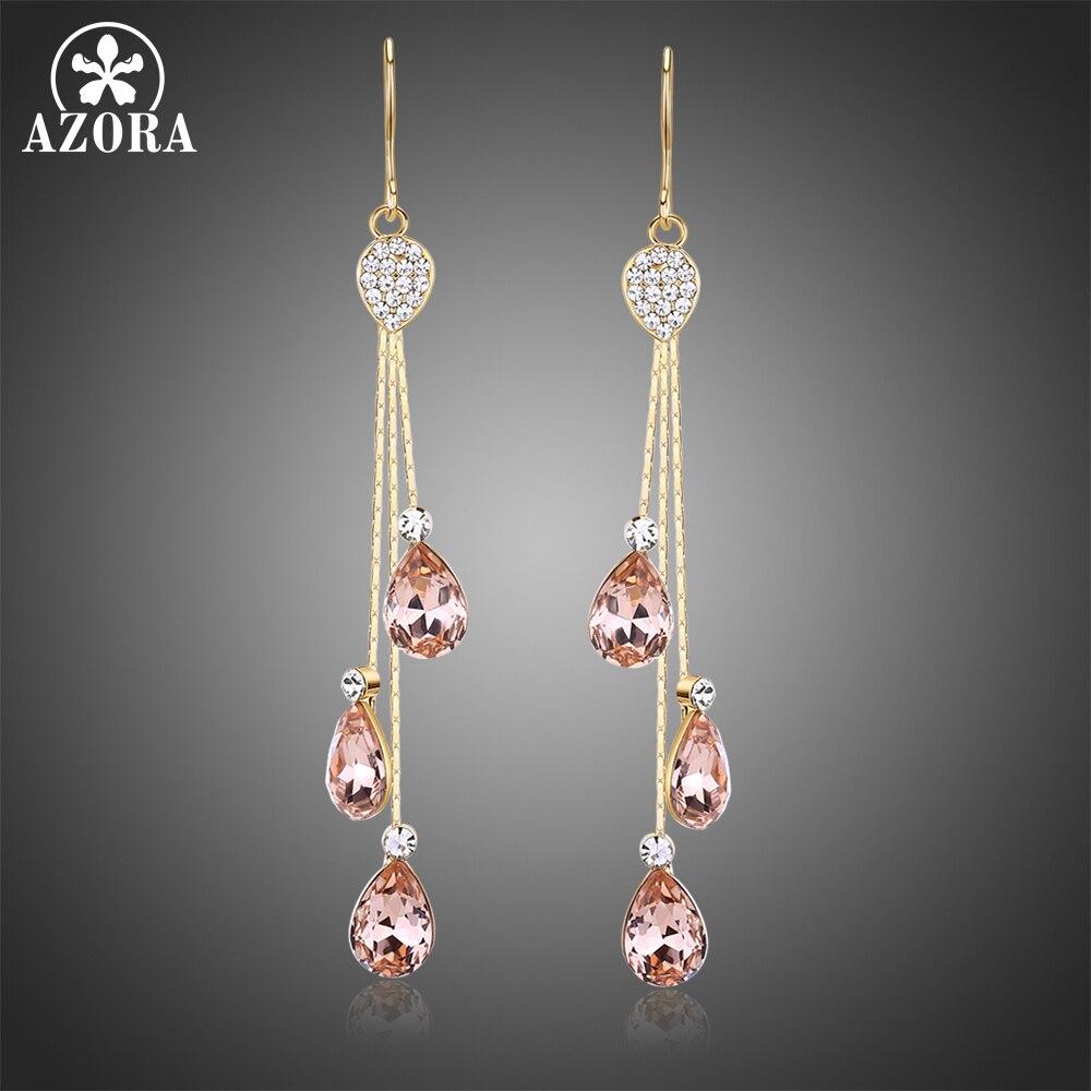 AZORA Korean Three Water Drop Austrian Crystal Dangling Earrings for Female Girls Drop Earrings for Women Fashion Jewelry TE0345 pair of graceful faux crystal rhinestoned water drop earrings for women