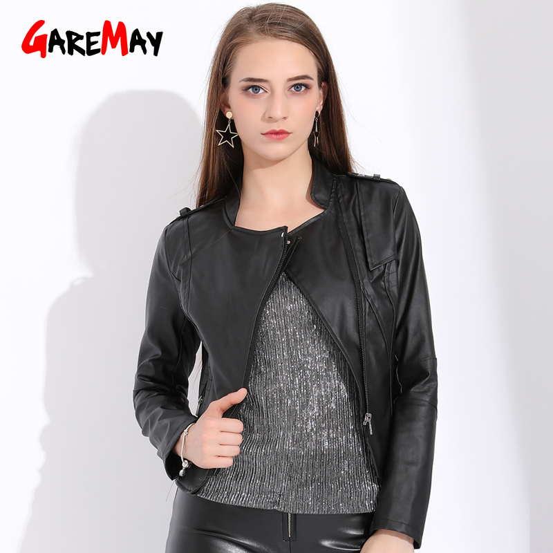 Garemay Black Faux Leather Jacket Women Short Coat Autumn Women Plus Size Leather Coats And Jackets Short Ladies Retro PU Jacket leather jacket