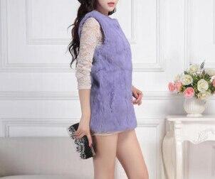 Лучшее качество, натуральный кроличий мех, жилет для женщин, модный натуральный кроличий мех, жилетка, фабричная, опт и розница, TFP950 - Цвет: XYpurple