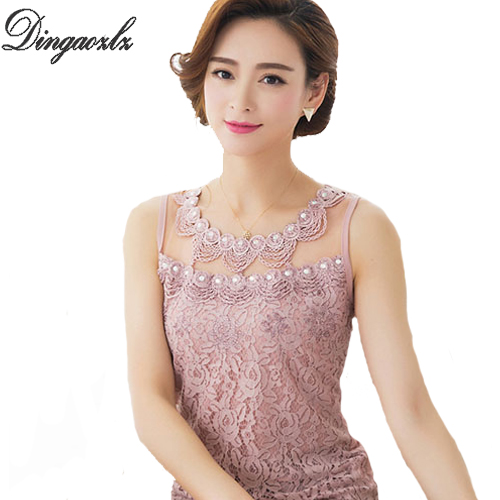 Fashion lace Vest Tops female Summer Sexy lace blouse New Sleeveless Basic shirt Ladies Plus size Diamond Mesh Women shirts