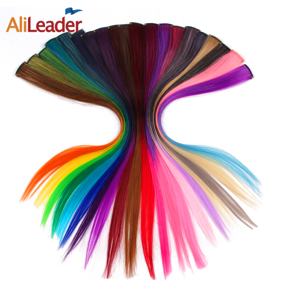 AliLeader Made 57 Colors 50CM Single Clip In One Piece Hair Extensions Synthetic Long Straight Ombre Grey Red Rainbow Hair Piece(China)