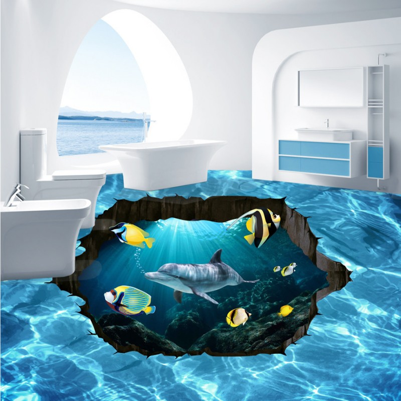 Free shipping blue hd 3d stereo underwater world floor for Bathroom floor mural sky